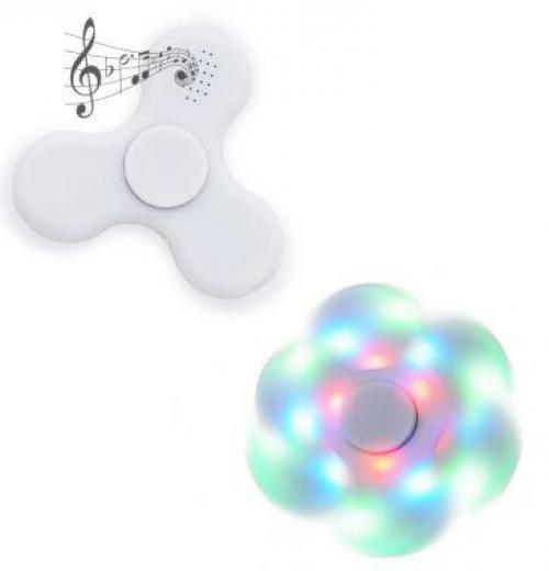 Spinner anti-stress plástico com led e bluetooth.